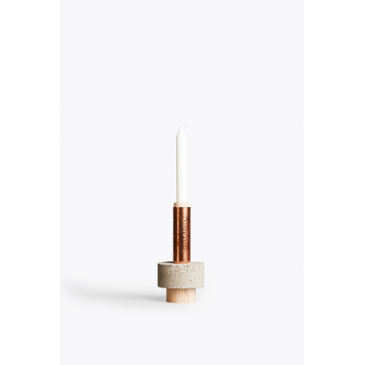 Crowd Candle Holder Tall Stuart, Concrete, Wood Base