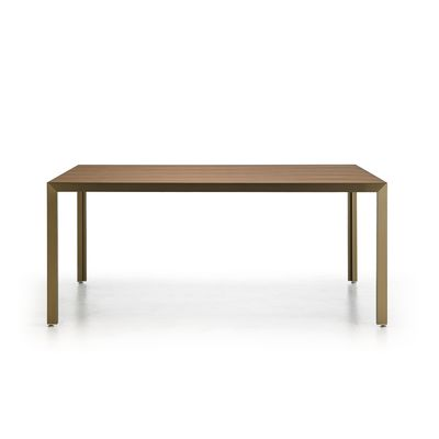 Dénia Dining Table, Rectangular Beige Textured Metal (ral 1019), Dark Stained Walnut, 200