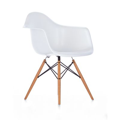 DAW Side Chair 65 Ash honey tone, 04 White, 04 Glides basic dark for carpet
