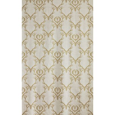 Deer Damask Fabric  Gold