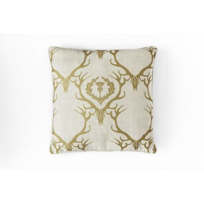 Deer Damask Cushion Gold