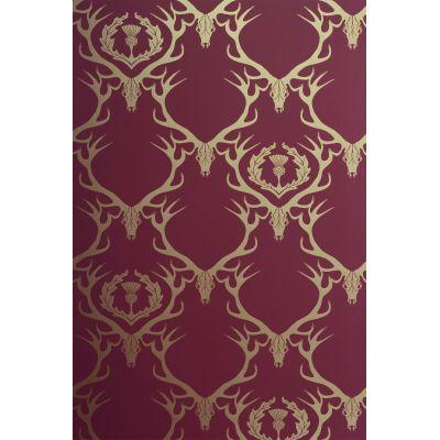 Deer Damask Wallpaper Claret, Gold