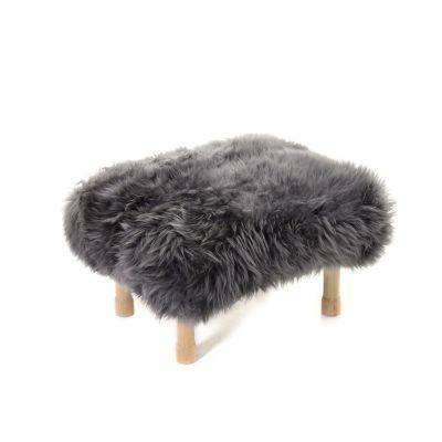 Dilys Sheepskin Footstool  Slate Grey