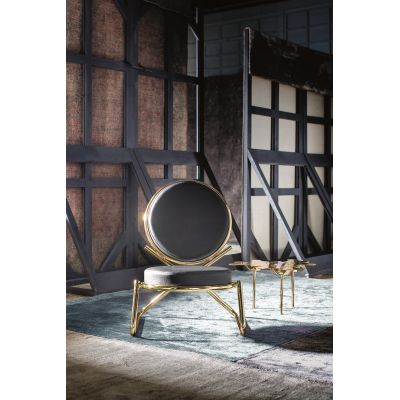 Double Zero Armchair B0211 - Leather Oil cirè, Shiny Gold