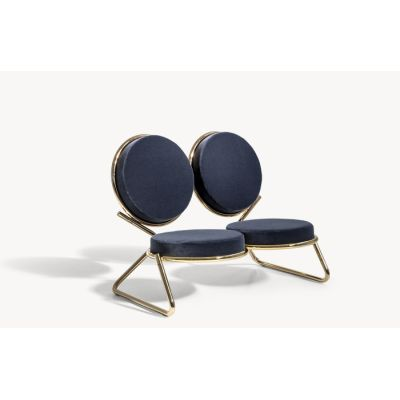 Double Zero Settee B0211 - Leather Oil cirè, Shiny Gold