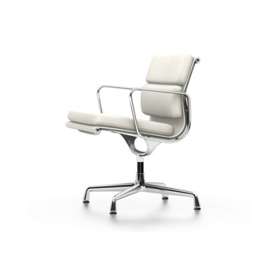 EA 208 Soft Pad Chair - Swivel, With Armrests Classic Height, 04 Glides for carpet, Leather Premium 72 snow, chromed aluminium