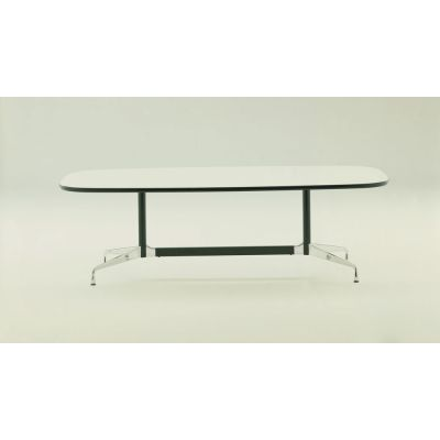 Eames Boat-Shaped Table - 12 Seats White laminate / plastic edge black, Feet chrome / central columns and stabilisers basic dark