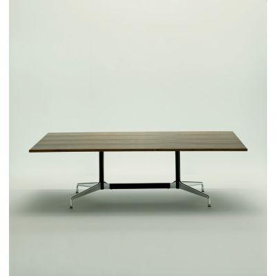 Eames Rectangular Table - 8 Seats White laminate / plastic edge black, Feet chrome / central columns and stabilisers basic dark