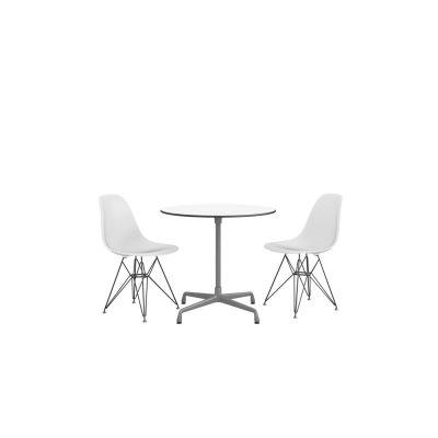 Eames Round Table - 3 Seats White laminate / plastic edge black, Feet chrome / central column basic dark