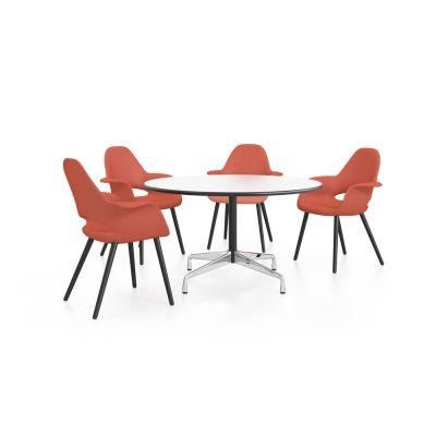 Eames Round Table - 4 Seats White laminate / plastic edge black, Feet chrome / central column basic dark