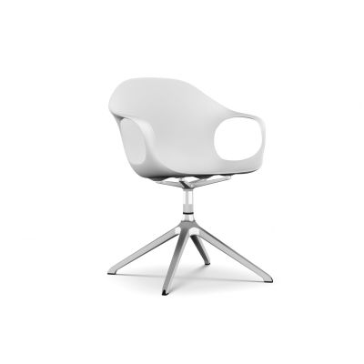 Elephant Swivel Trestle Armchair - Polyurethane Seat Polished aluminium, White polyurethane