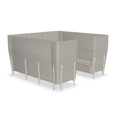 Eleven High Back Privacy 868 Sofa Kvadrat Steelcut Trio - ST24, Polished Aluminium - AB