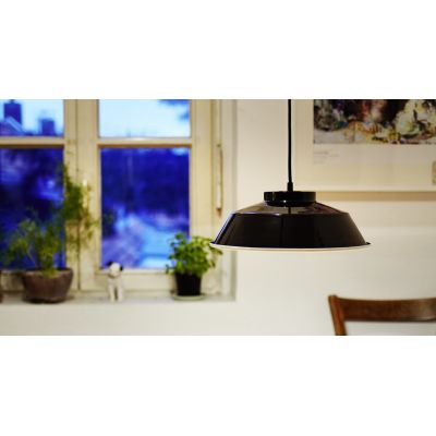 EM004  Industrial Enamel Pendant Lamp  Cable Black