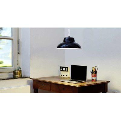 EM006  Industrial Enamel Pendant Lamp Cable Black