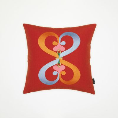 Embroidered Pillow - Double Heart