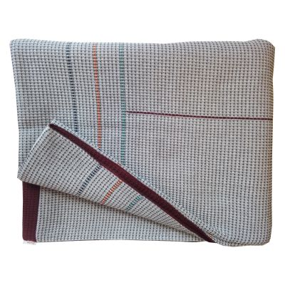 ENDELL hand embroidered charcoal burgundy reverse throw
