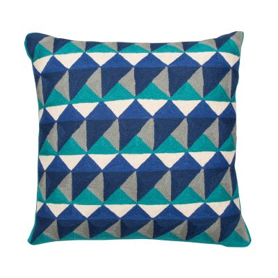 Escher Cushion Emerald & Navy