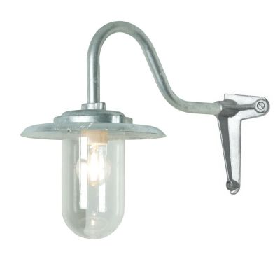 Exterior Bracket Light, 100W, Corner 7677 Galvanised Silver, Clear Glass