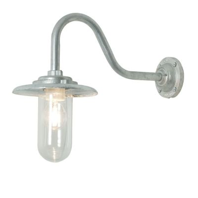 Exterior Bracket Light, 60W, Swan Neck 7677 Galvanised Silver, Clear Glass