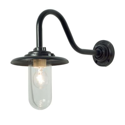 Exterior Bracket Light, 60W, Swan Neck 7677 Black, Clear Glass