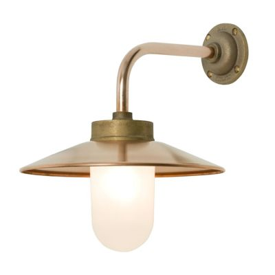 Exterior Bracket Light, Right Angle, Round 7680 Gunmetal, Frosted Glass