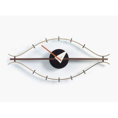 Eye Clock brass/walnut