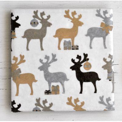 Festive Reindeer Ceramic Coasters