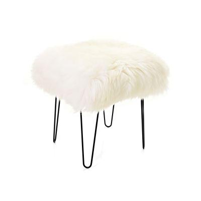 Ffleur Sheepskin Footstool  Ivory