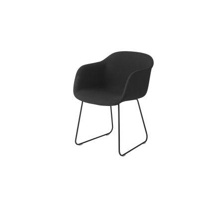 Fiber Armchair Sled Base - Upholstered Elmo Soft Leather 00100, Black
