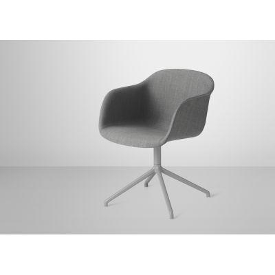 Fiber Armchair Swivel Base With Return - Upholstered Canvas 114, Black