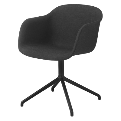 Fiber Armchair Swivel Base Without Return - Upholstered Wooly koks 1002, Black