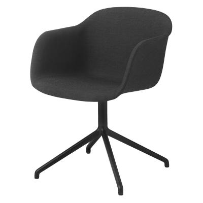 Fiber Armchair Swivel Base Without Return - Upholstered Wooly koks 1002, Black