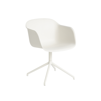 Fiber Armchair Swivel Base With Return Natural White/White