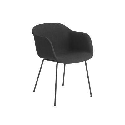 Fiber Armchair Tube Base - Upholstered Elmo Soft Leather 00100, Black