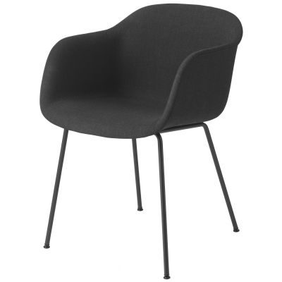 Fiber Armchair Tube Base - Upholstered Wooly koks 1002, Black