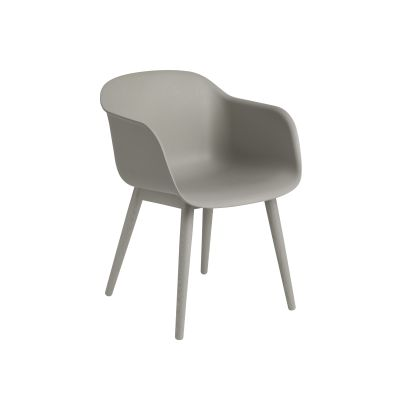 Fiber Armchair Wood Base Grey / Grey