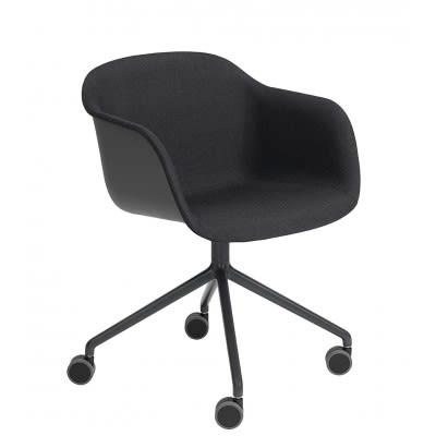 Fiber Armchair/Swivel Base With Castors - Upholstered Wooly koks 1002, Black