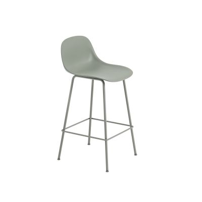 Fiber Bar Stool With Backrest Tube Base - Unupholstered Dusty Green/Dusty Green, 65
