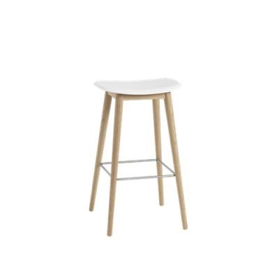 Fiber Bar Stool Wood Base - Unupholstered 75, Natural White/Oak