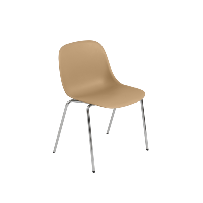 Fiber Side Chair / A-Base With Felt Glides Non Upholstered Ochre / Chrome