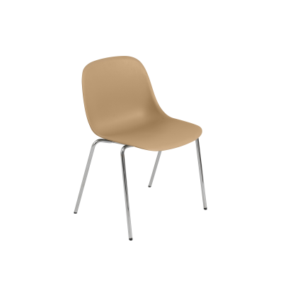Fiber Side Chair / A-Base With Linking Device - With Felt Non Upholstered Ochre / Chrome