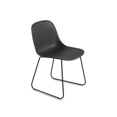 Fiber Side Chair Sled Base Black / Black