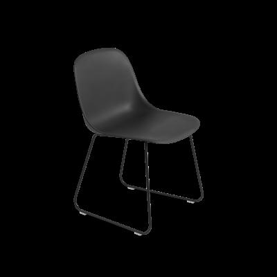 Fiber Side Chair Sled Base Black / Black