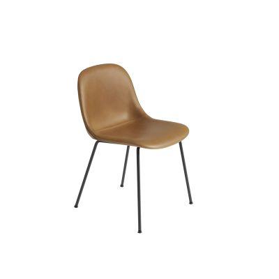 Fiber Side Chair Tube Base - Upholstered Elmo Soft Leather 00100, Black