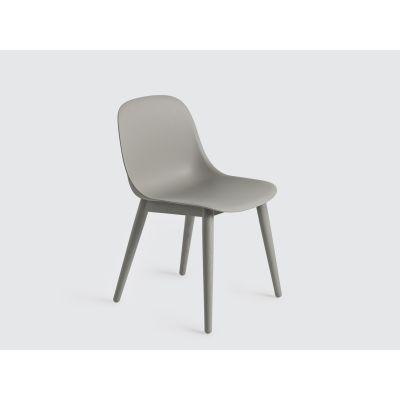 Fiber Side Chair Wood Base - Ex display Grey/Grey