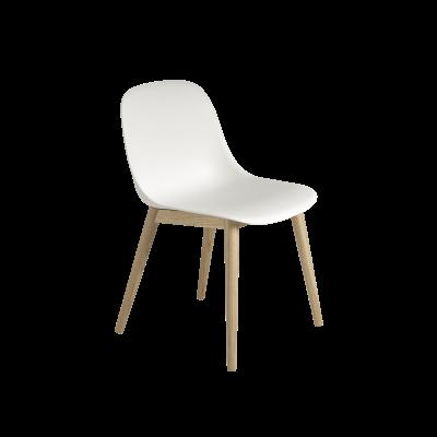 Fiber Side Chair Wood Base Natural White / Oak