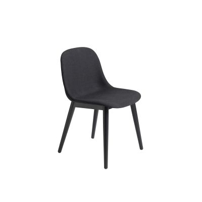 Fiber Side Chair Wood Base - Upholstered Steelcut Trio 2 105, Black