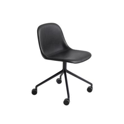 Fiber Side Chair/Swivel Base With Castors Upholstered Seat Elmo Soft Leather 00100, Black