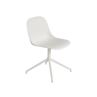 Fiber Side Swivel Base Chair With Return - Non Upholstered Natural White/White