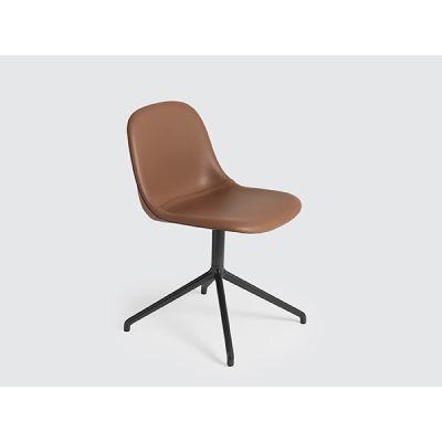 Fiber Side Swivel Base Chair With Return - Upholstered Elmo Soft Leather 00100, Black